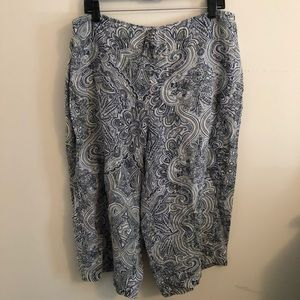 Flax Paisley Cropped Wide Leg Pants